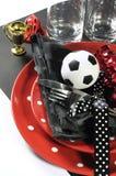 Couleurs noires et blanches rouges d'équipe de table de partie du football du football - Cl Photographie stock