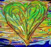 Couleurs peintes mélangées en forme de coeur photo libre de droits