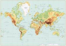 Couleurs physiques détaillées de carte du monde rétros Aucune bathymétrie Images stock