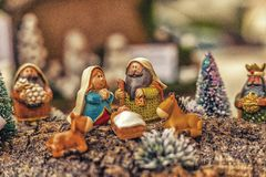 couleurs vives de scène de nativité de Noël Photographie stock libre de droits