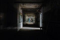 Couloir abandonné - hôpital d'État de Creedmoor - New York Photographie stock libre de droits