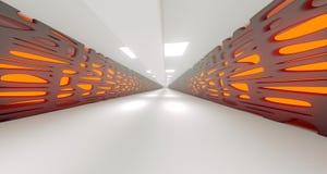 Couloir abstrait de la science fiction long avec des lumières rendu 3d Illustration de Vecteur
