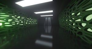 Couloir abstrait de la science fiction long avec des lumières rendu 3d Illustration Stock