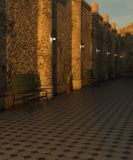 Couloir avec le plancher et banc au coucher du soleil Photo libre de droits