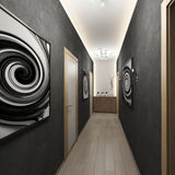 Couloir avec les portes et le plâtre décoratif de mur Photographie stock libre de droits