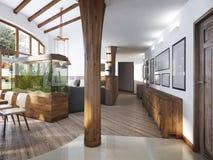 Couloir avec vue sur le salon avec une colonne en bois dedans Photographie stock