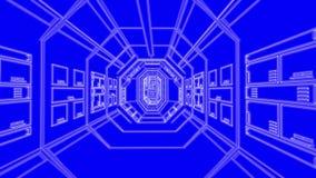 Couloir bleu de croquis de mise au point de vaisseau spatial banque de vidéos