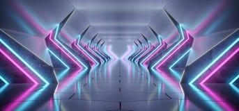 Couloir concret réfléchi étranger futuriste moderne lumineux Tunn illustration libre de droits
