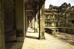 Couloir dans Angkor Wat, Cambodge Image libre de droits