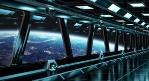 Couloir de vaisseau spatial avec la vue sur la terre 3D de planète rendant l'EL Images libres de droits