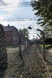 Couloir des barrières électrifiées de barbelé dans le camp d'Auschwitz II-Birkenau dans Brzezinka, Pologne photos stock