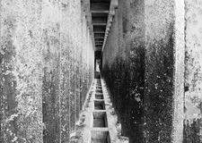Couloir des piliers concrets Image libre de droits