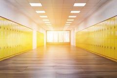 Couloir ensoleillé d'école Photographie stock