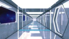 Couloir futuriste d'intérieur de vaisseau spatial Images stock