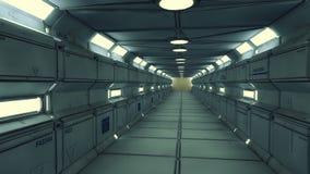 Couloir futuriste d'intérieur de vaisseau spatial Photos libres de droits