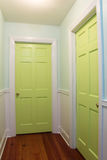 Couloir intérieur avec deux portes vertes Photo libre de droits