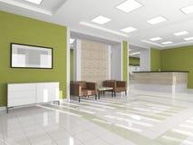 Couloir intérieur avec un fauteuil images libres de droits