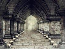 Couloir sombre avec des crânes illustration libre de droits