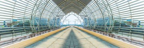 Couloir vide d'aéroport moderne à Changhaï Photographie stock libre de droits