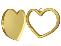 Coulomb frame for photo. Gold coulomb in the form of a heart for photos Royalty Free Stock Image