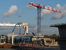 Coulombiers, november 2013, precast segment plant. Construction of the high speed railway between Tours And Bordeaux , France, bridges concrete segments Stock Image