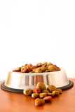 Coulourfull Dog Food Grains. In a silver dog dish lying on the floor red brown yellow and green grains Stock Photography