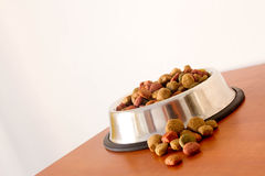 Coulourfull Dog Food Grains. In a silver dog dish lying on the floor red brown yellow and green grains Stock Photos