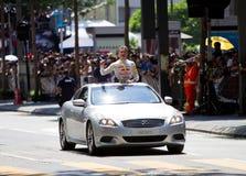 coulthard大卫演示f1打手势马来西亚 库存照片