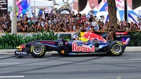 coulthard Давид автомобиля быка управляя участвуя в гонке красным цветом f1 стоковое изображение