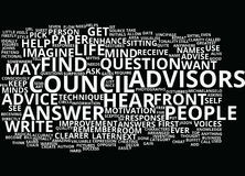 The Council Of Advisors Text Background  Word Cloud Concept Stock Photography