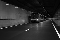 Council buses in Legacy Way, Brisbane Royalty Free Stock Images