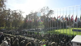Council of Europe employees leaving the COE building stock video footage