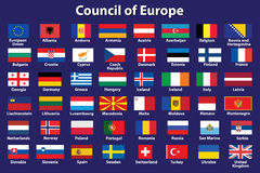 Council of Europe flags. Set of Council of Europe flags vector illustration Royalty Free Stock Image
