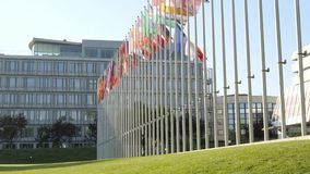 Council of Europe with UK and France flag half-mast stock video