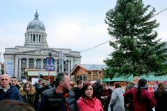 Council house and Christmas market, Nottingham. stock images