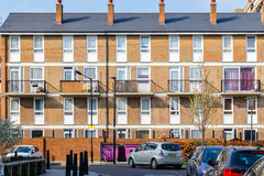 Council housing flats in East London. Facade of council housing flats in East London Stock Photo