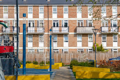 Council housing flats in East London. Facade of council housing flats in East London Stock Photos