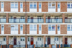 Council housing flats in East London. Facade of council housing flats in Brownfield, East London Royalty Free Stock Photos