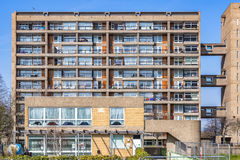 Council housing flats in East London. Facade of council housing flats in Brownfield, East London Stock Image