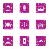Council icons set, grunge style. Council icons set. Grunge set of 9 council vector icons for web isolated on white background Royalty Free Stock Photography