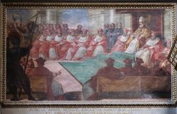 The Council of Mantua of 1459. Fresco in Mantua Cathedral dedicated to Saint Peter, Mantua, Italy Royalty Free Stock Photography