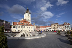 The Council Square. (Piata Sfatului in romanian) and Council House in the historical center of Brasov city, Romania stock photography