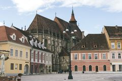Council square and Black church in downtown of Brasov, Transylvania, Romania Stock Photography