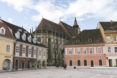 Council square and Black church in downtown of Brasov, Transylvania, Romania Stock Photo