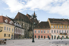 Council square and Black church in downtown of Brasov, Transylvania, Romania Royalty Free Stock Image