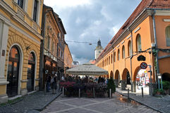The Council square, Brasov city, Romania Stock Photos