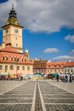 The Council Square, Brasov, Romania. Daytime view of the Council Square and the Council House in Brasov, Romania Stock Image