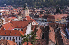 The Council Square and Council House of Brasov, Romania stock photography