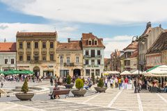Council Square (Piata Sfatului) in Brasov, Romania Royalty Free Stock Photography