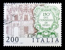 Council of State building, serie, circa 1981. MOSCOW, RUSSIA - MAY 10, 2018: A stamp printed in Italy shows Council of State building, serie, circa 1981 vector illustration